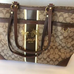 Coach Signature Monogram Baby Bag/ Diaper Bag
